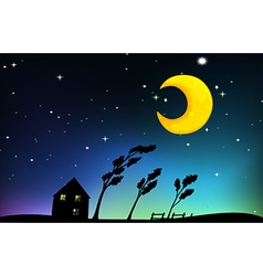 Night scene with house and trees vector