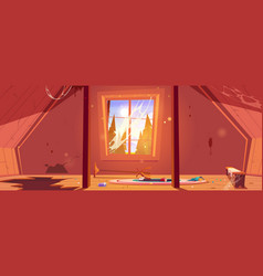 Old attic in abandoned house with clutter vector