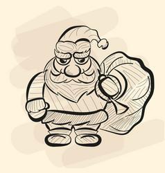 old santa hand drawn sketch vector image