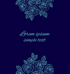 Pale blue outline roses wreath wedding invitations vector