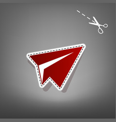 Paper airplane sign red icon with for vector