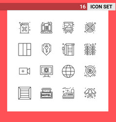 Pictograph set 16 simple outlines wireframe vector
