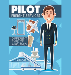 pilot profession and freight service vector image