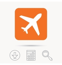 Plane icon Flight transport sign vector