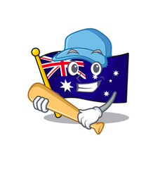 Playing baseball australian flag clings to cartoon vector