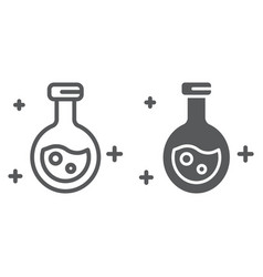 Potion line and glyph icon magic and glass flask vector