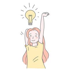 pretty girl with lamp bulb new creative idea vector image