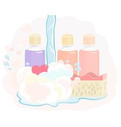 Pretty shower gel set vector