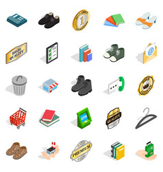Puff icons set isometric style vector