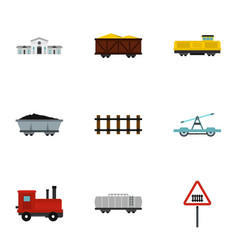railroad icons set flat style vector image