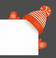 realistic 3d detailed knitted hat on a corner vector image