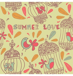 Retro Summer Love Birds Pattern vector image