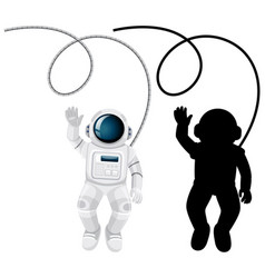 Set astronaut characters and its silhouette vector