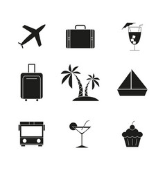 set of travel holiday black icons vector image