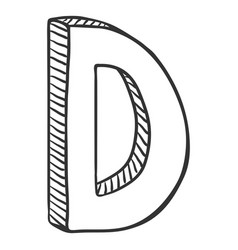 Single doodle sketch - the letter d vector