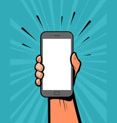 Smartphone in hand retro comic pop art vector