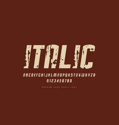stock italic narrow sans serif font vector image