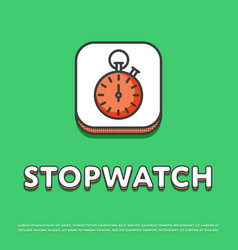 Stopwatch colour icon in line design vector