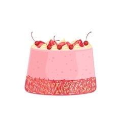 Strawberry Cheesecake Cake Decorated Big Special vector