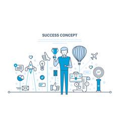 Success growth teamwork leadership achievement vector