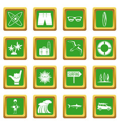 surfing icons set green vector image