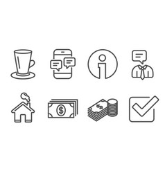 Teacup banking and phone messages icons savings vector