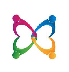 teamwork friendship people logo vector image