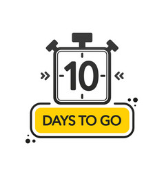 Ten days to go flat style on white background vector