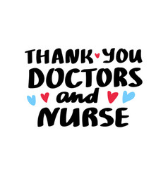 thank you doctors lettering vector image