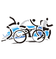 triathlon competition athletes vector image
