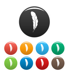 tribal feather icons set color vector image