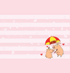 valentines card with cute pigs vector image