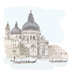 Venetian landscape with a boat vector