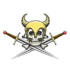 viking skull in helmet with swords vector image