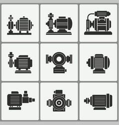 Water pump icons set vector