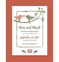 wedding vintage invitation in retro design vector image