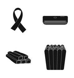 What air conditioning and other web icon in black vector