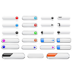 white menu buttons with colored tags oval glass vector image