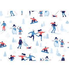 Winter seamless pattern people having winter vector