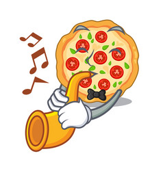 with trumpet margherita pizza isolated with the vector image