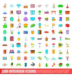 100 interior icons set cartoon style vector image vector image