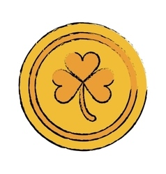Cartoon saint patrick day gold coin shamrock icon vector