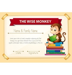 Certification template with monkey reading books vector