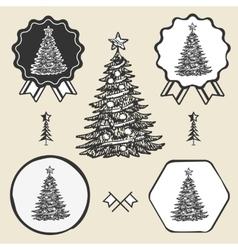 Christmas tree vintage symbol emblem label vector image