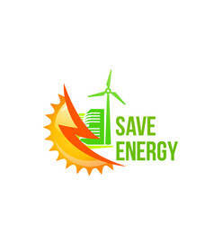green solar green energy windmill icon vector image vector image