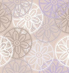 Lace seamless pattern with flowers on beige vector image vector image