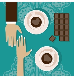 Lovers drink coffee vector image