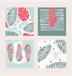 set with decorative set of square cards in vector image vector image