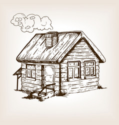 village house engraving vector image