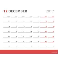 Calendar planner 2017 december week starts monday vector